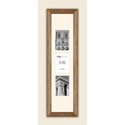 3-Opening Vertical 5 in. x 7 in. White Matted Champagne Photo Collage Frame