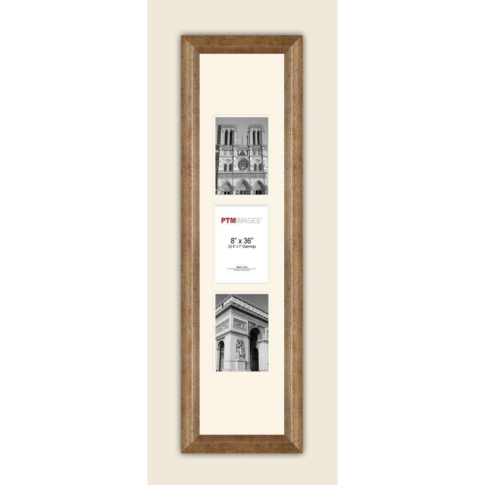 PTM Images 3-Opening Vertical 5 in. x 7 in. White Matted Champagne ...