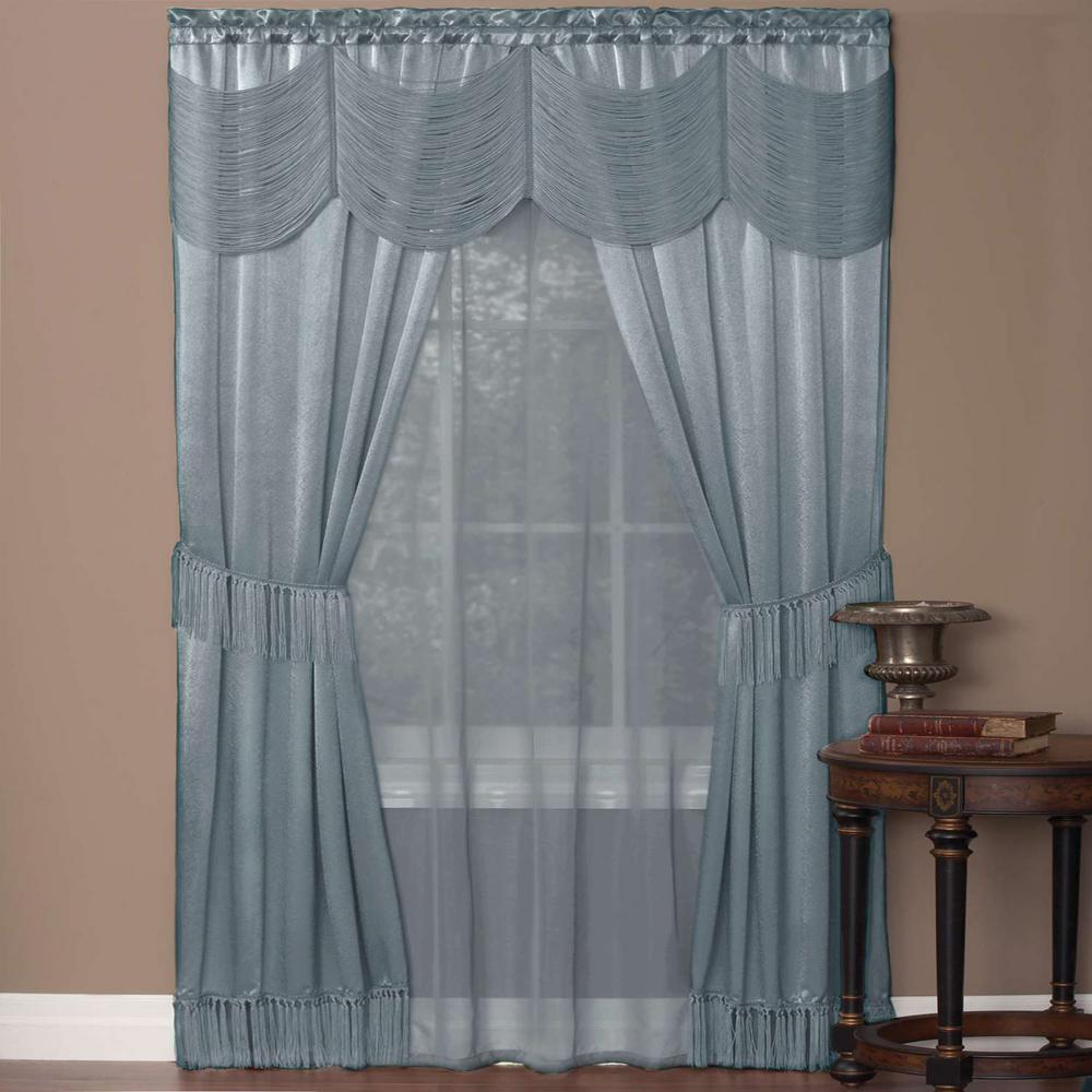 Sheer Halley Ice Blue Window Curtain Set - 56 in. W