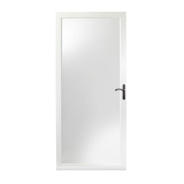 36 in. x 80 in. 3000 Series White Right-Hand Fullview Easy Install Aluminum Storm Door with Oil-Rubbed Bronze Hardware