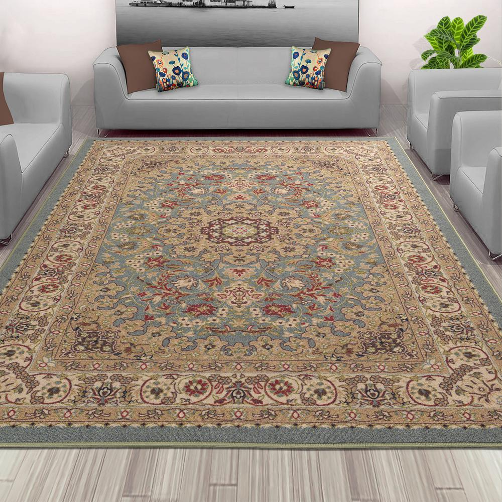 Sweet home stores sweet home collection medallion design ocean green 3 ft x 5 ft