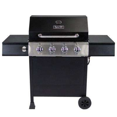 4-Burner Open Cart LP Gas Grill in Black