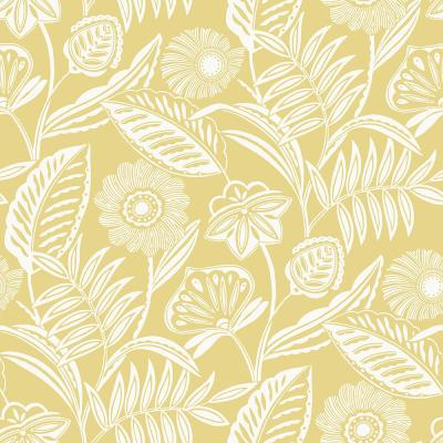 Alma Yellow Tropical Floral Paper Strippable Roll (Covers 60.8 sq. ft.)