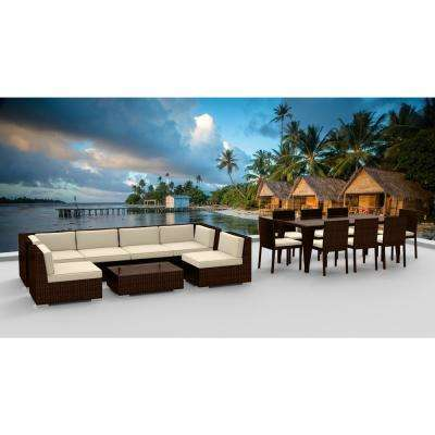 Brown Series 16-Piece Wicker Outdoor Sectional Seating Set with Beige Cushions