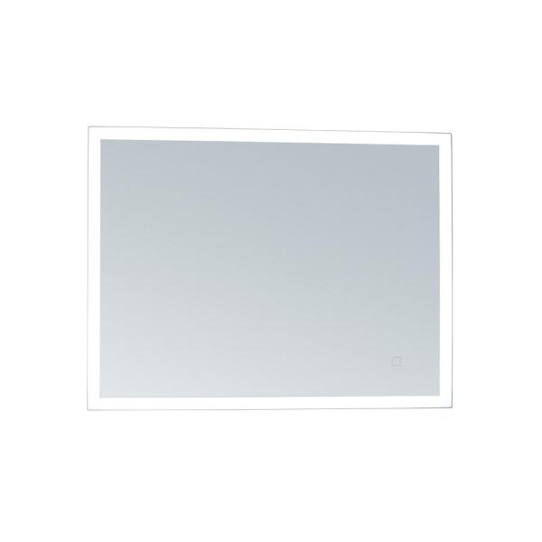 56 in. W x 36 in. H Framed Rectangular LED Light Bathroom Vanity Mirror in Aluminum