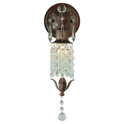 Maison De Ville 5 in. W x 14 in. H 1-Light British Bronze French Country Sconce with Crystal and Bead Accents