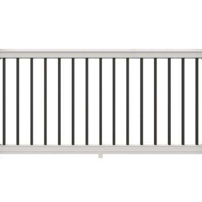 68 in. x 36 in. White Vinyl Premier Rail Kit with Black Aluminum Balusters