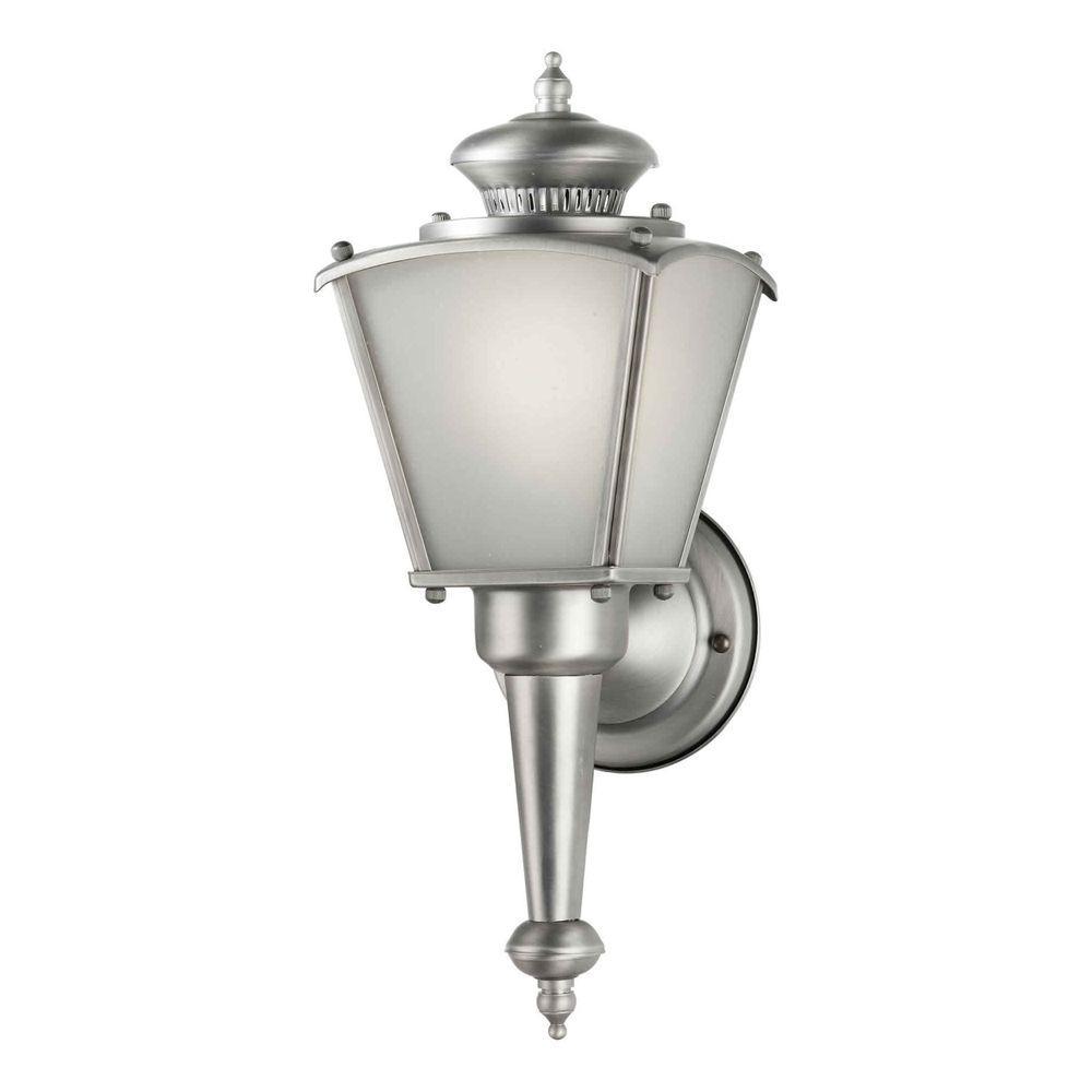 Talista 1-Light Outdoor Old Nickel Lantern with Frosted Seeded Glass Panels