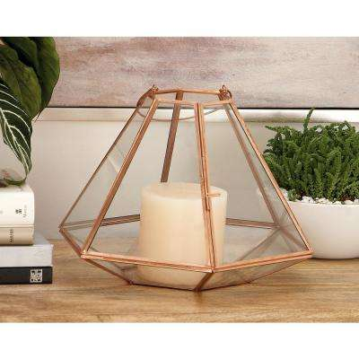 13 in. Metallic Glass and Iron Hexagonal Candle Lantern