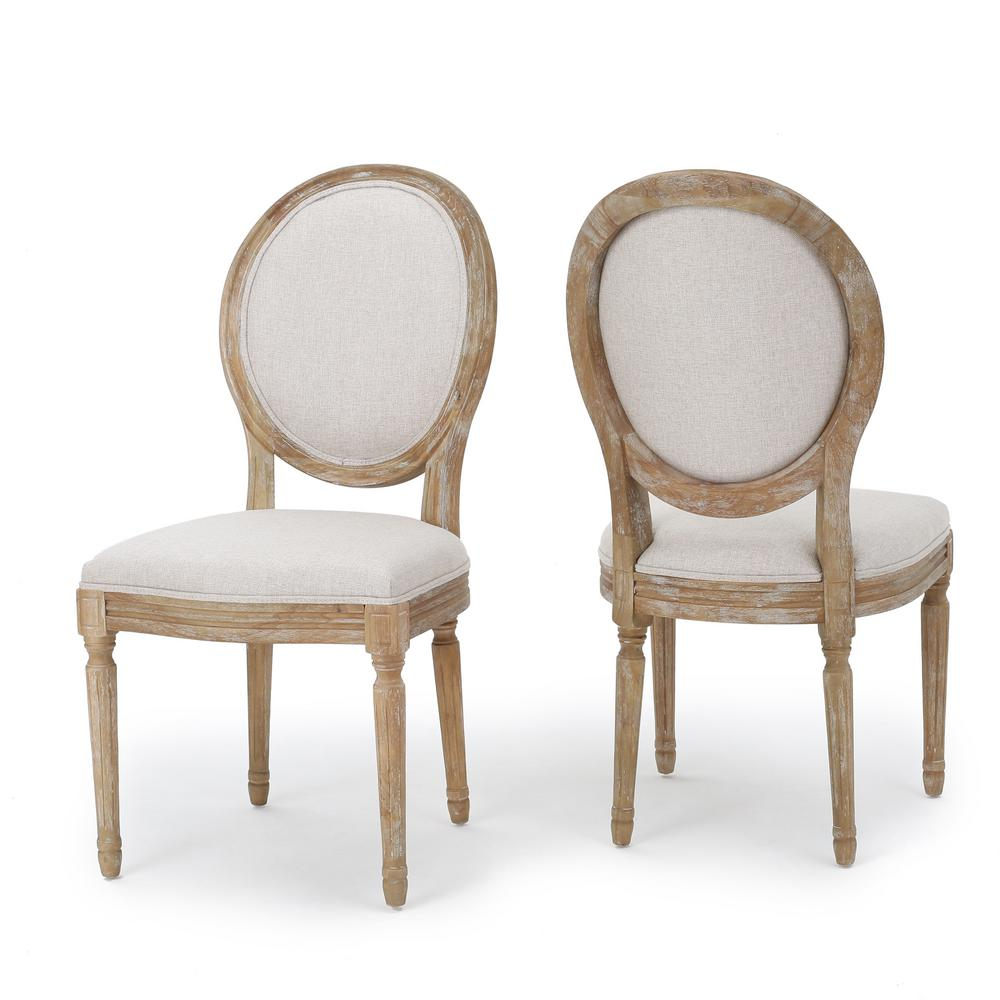 Noble House Phinnaeus Beige Fabric Dining Chairs Set Of 2 300258