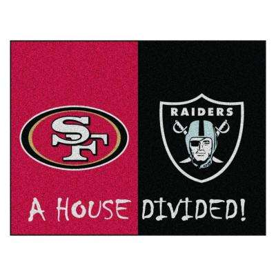NFL 49ers / Raiders Red House Divided 2 ft. 10 in. x 3 ft. 9 in. Accent Rug