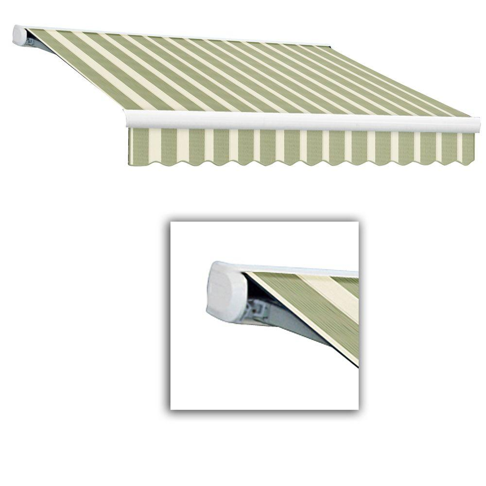 AWNTECH 24 ft. Key West Full-Cassette Right Motor Retractable Awning with Remote (120 in. Projection) in Sage/Cream