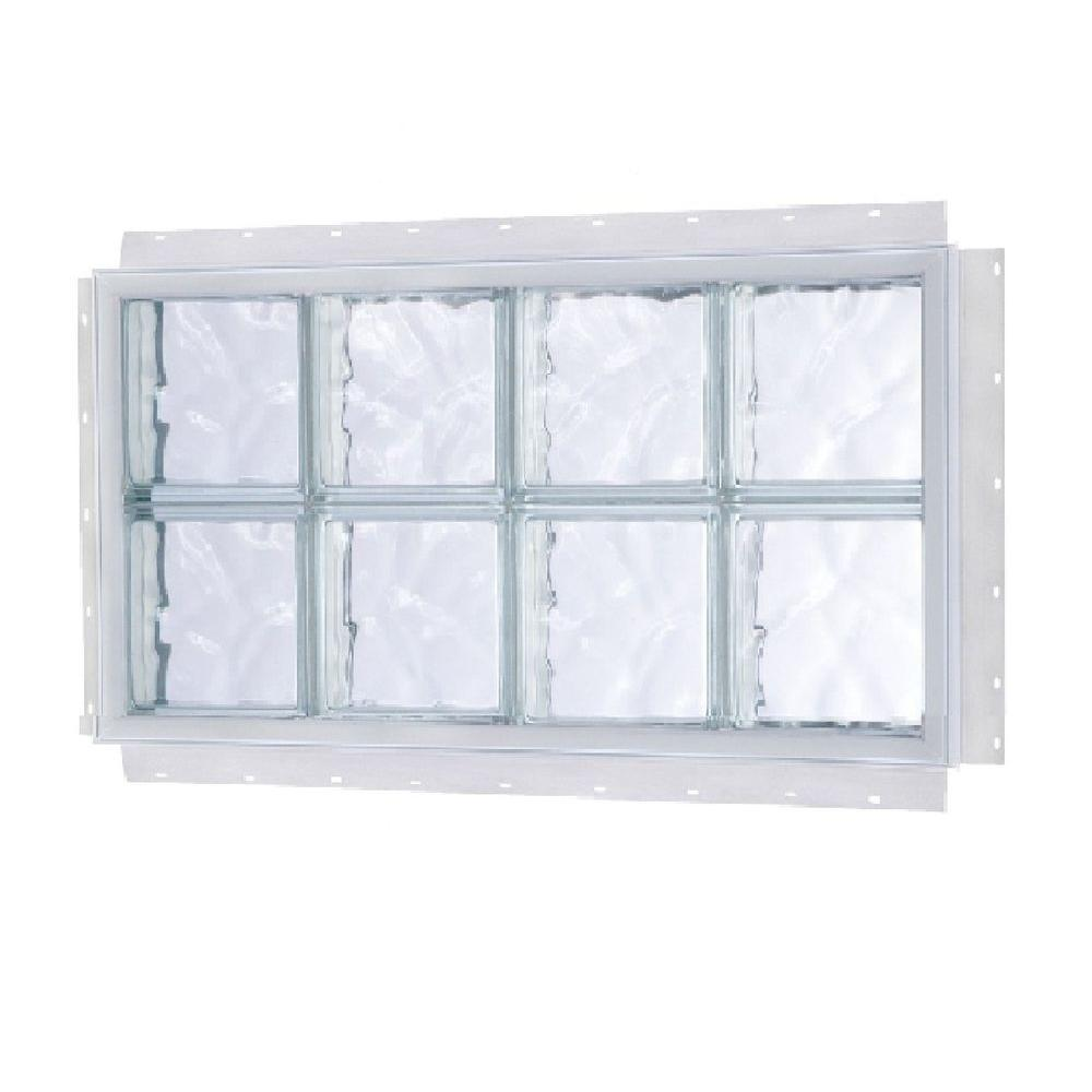TAFCO WINDOWS 24.5 in. x 8.5 in. NailUp Wave Pattern Solid Glass ...