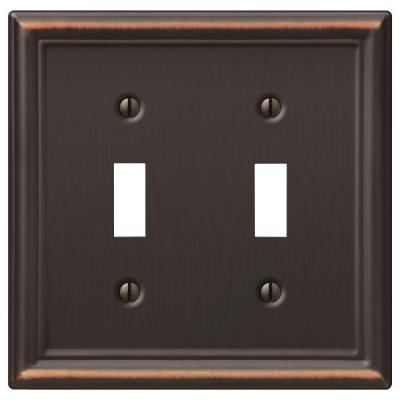 Ascher 2 Gang Toggle Steel Wall Plate - Aged Bronze