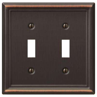 Ascher 2 Toggle Wall Plate - Aged Bronze Stamped