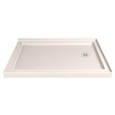 SlimLine 48 in. W x 34 in. D Double Threshold Shower Base in Biscuit with Right Hand Drain