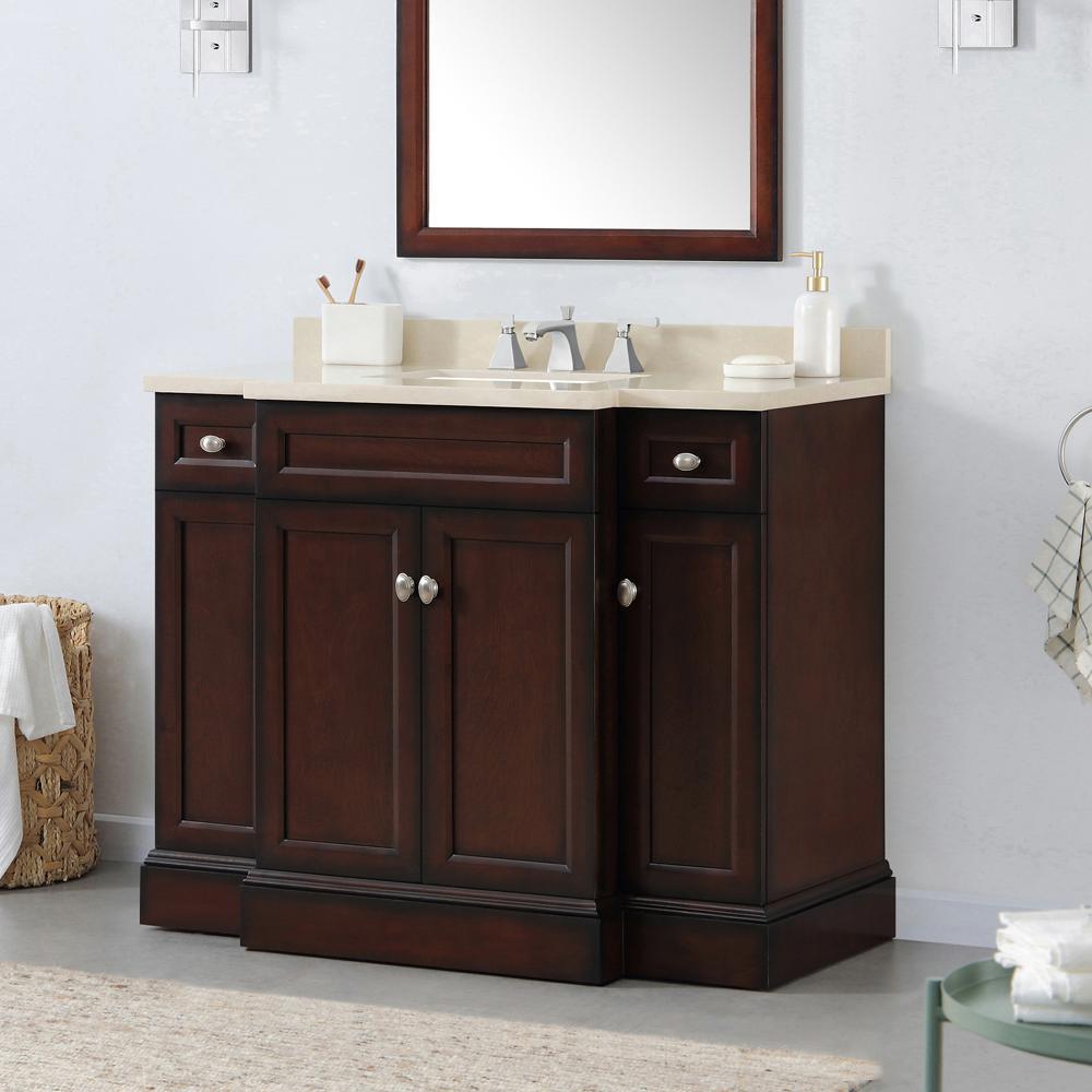 Teagen 42 in. W Bath Vanity in Dark Espresso with Cultured Stone Vanity Top in Beige with White Basin