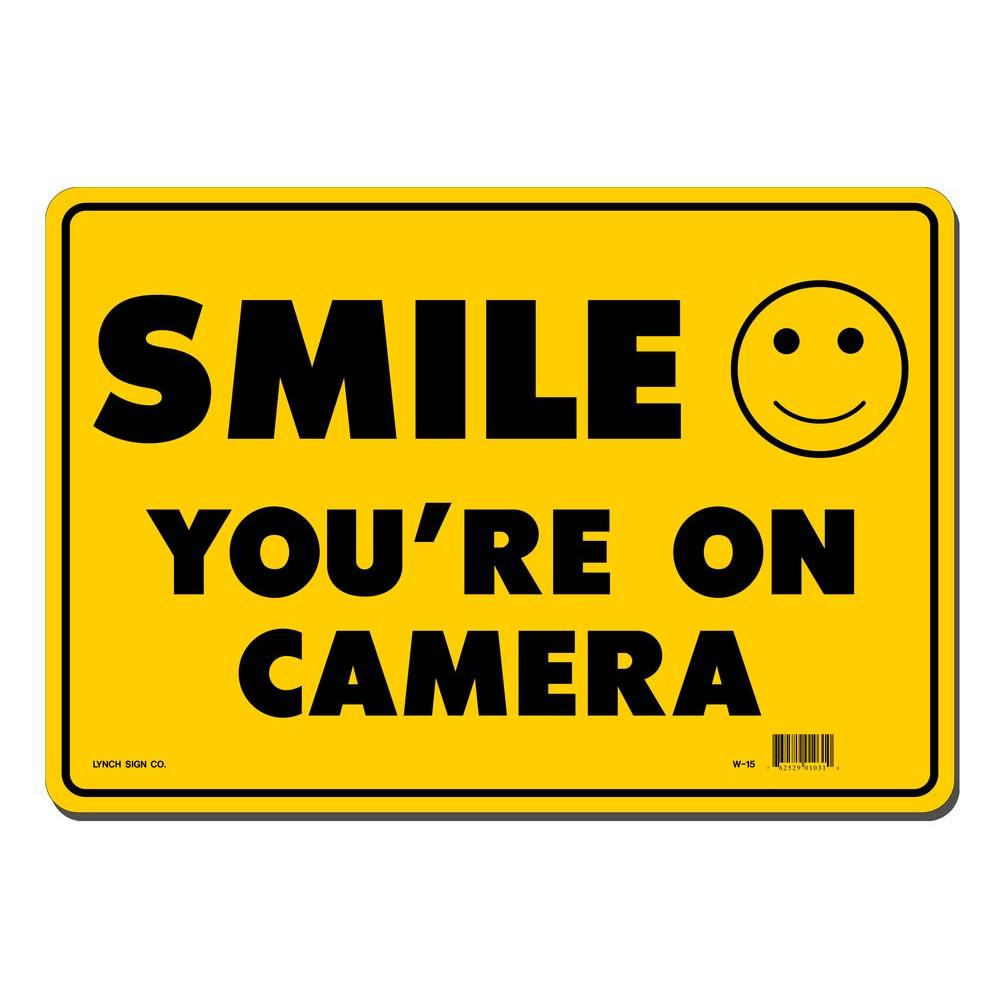 Lynch Sign 14 in. x 10 in. Smile You're on Camera Sign Pr...