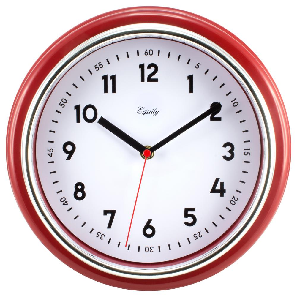 Equity By La Crosse Analog 11 5 In Red Retro Wall Clock 20867 The Home Depot
