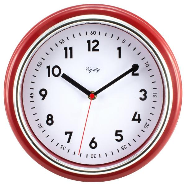 Equity by La Crosse Analog 11.5 in. Red Retro Wall Clock