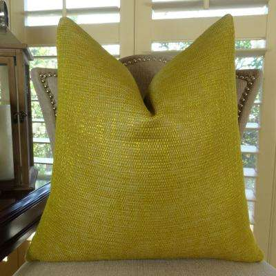 metallic citrine and gold down alternative double sided throw pillow