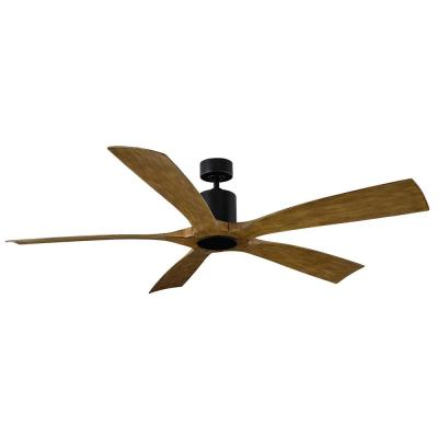 Aviator 70 in. Indoor/Outdoor Matte Black Distressed Koa 5-Blade Smart Ceiling Fan Light Kit Adaptable with Wall Control