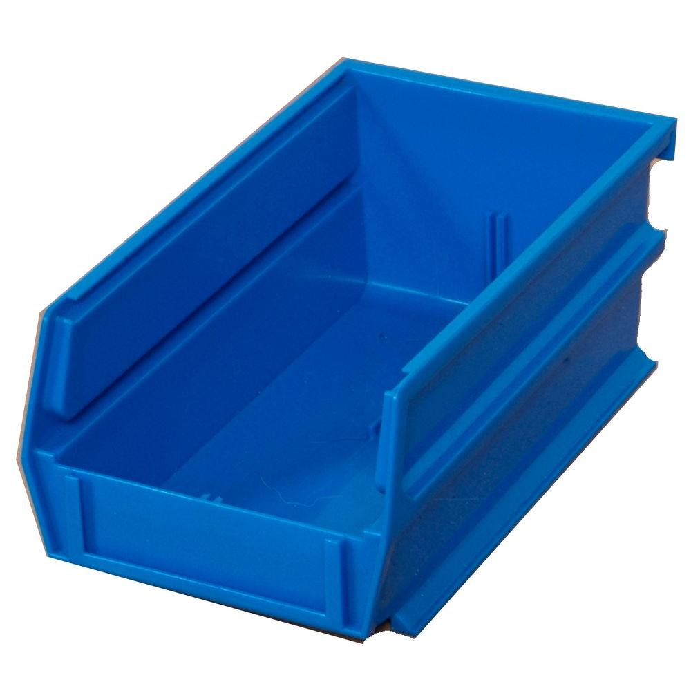 Triton Products LocBin 14-3/4 in. L x 8-1/4 in. W x 7 in. H Blue Stacking, Hanging, Interlocking Polypropylene Bins, 6 CT