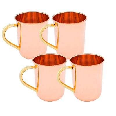 Straight Sided 14 oz. Moscow Mule Mug with Unlined and Lacquered on Exterior Only (Set of 4)