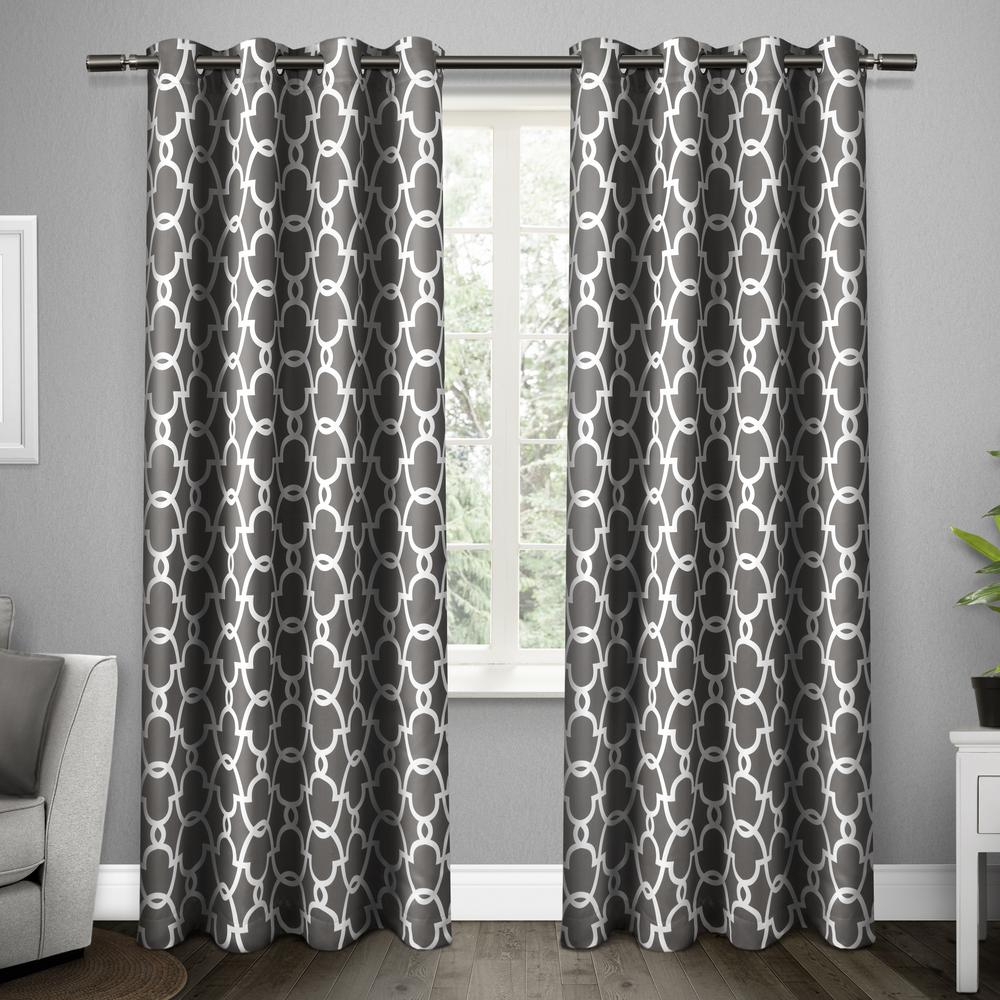 Gates 52 in. W x 96 in. L Woven Blackout Grommet Top Curtain Panel in Black Pearl (2 Panels)