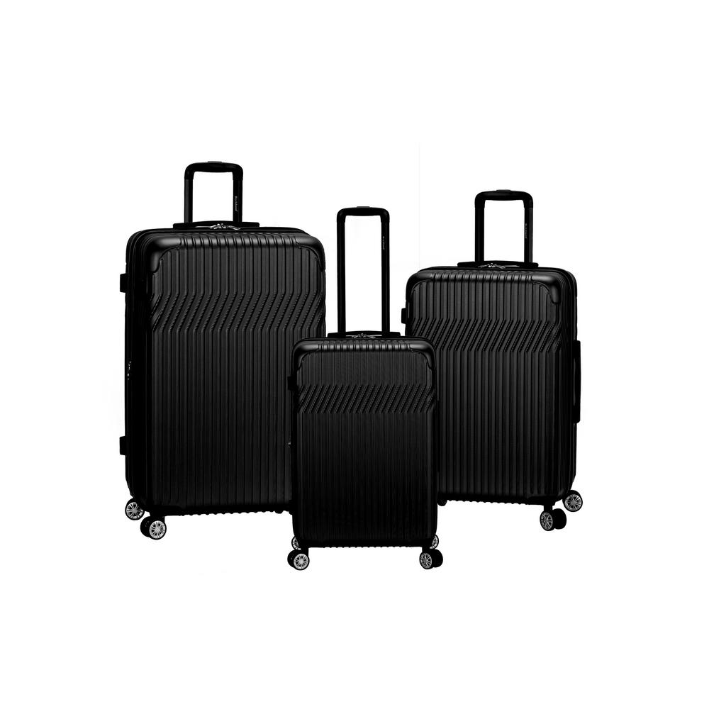 Pista Collection 3-Piece Hardside Dual Spinner Luggage Set, Black
