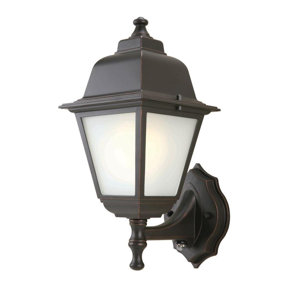 Hampton bay 1 light oil rubbed bronze outdoor dusk to dawn wall mount lantern gfc1611p 2 the for Exterior wall mounted lanterns