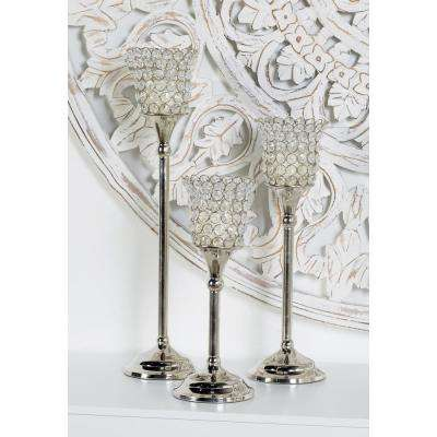 Silver Aluminum Candle Holders with Bead Accents (Set of 3)