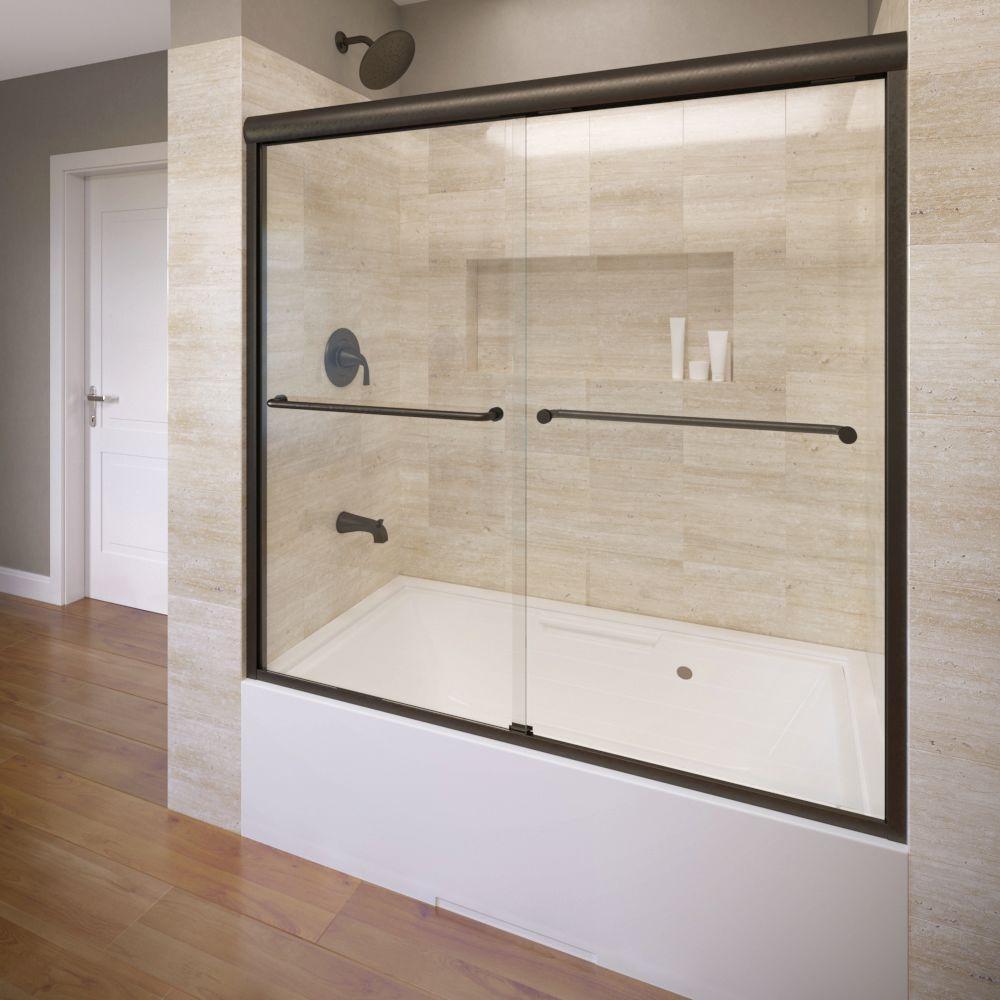 Celesta 60 in. x 58-1/4 in. AquaglideXP Clear Semi-Framed Sliding Door in Oil Rubbed Bronze