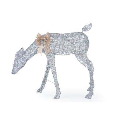 Holiday Glow 35 in. Christmas Cool White LED Silver PVC Doe
