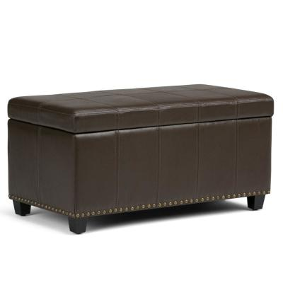 Amelia 34 in. Traditional Storage Ottoman in Chocolate Brown Faux Leather