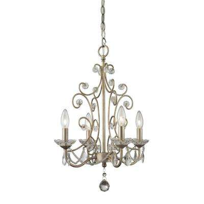 Queen 4-Light Antique Silver Chandelier