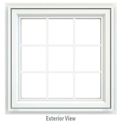 35.5 in. x 35.5 in. V-4500 Series Awning Vinyl Window with Grids - White