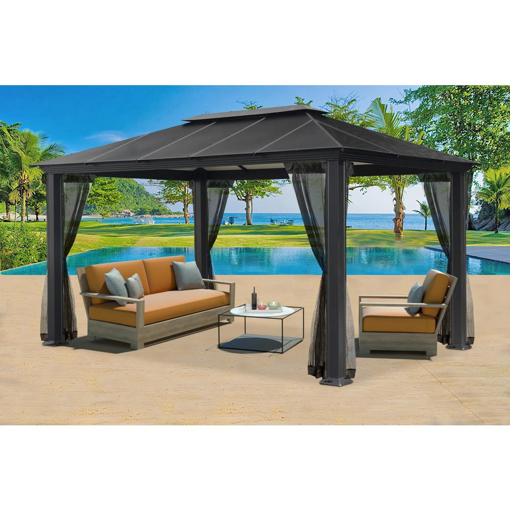 Aluminum Hard Top Gazebo With Mosquito Netting