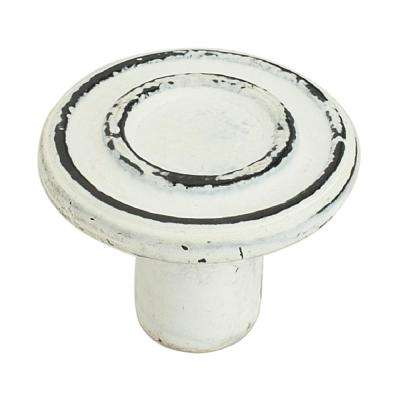 Ringed 1-1/2 in. (38 mm) Distressed White Patina Cabinet knob