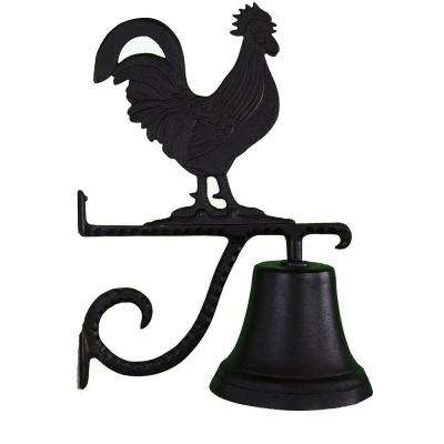Cast Bell with Black Rooster Ornament