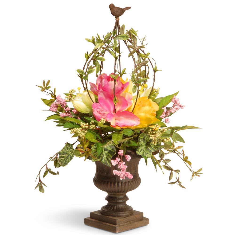 25 in. Spring Floral Birdcage