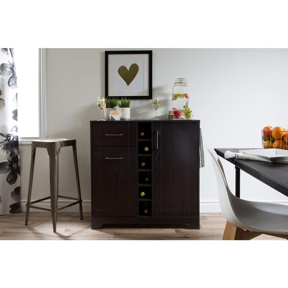 South Shore Vietti 6-Bottle Black Oak Bar Cabinet