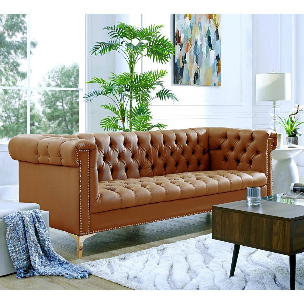 Admirable Faux Leather Brown Nailheads Sofas Loveseats Creativecarmelina Interior Chair Design Creativecarmelinacom