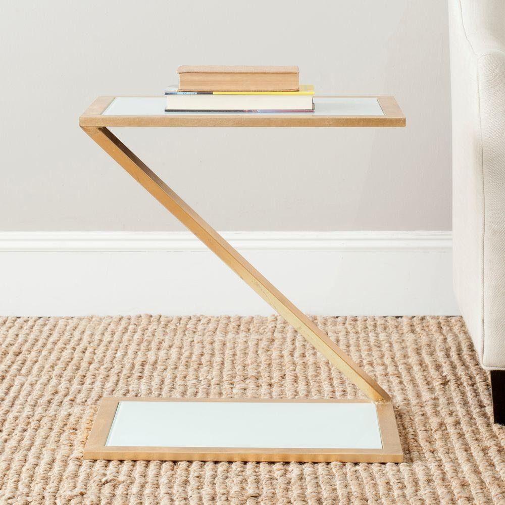 Safavieh Andrea Gold and White Glass Top End Table