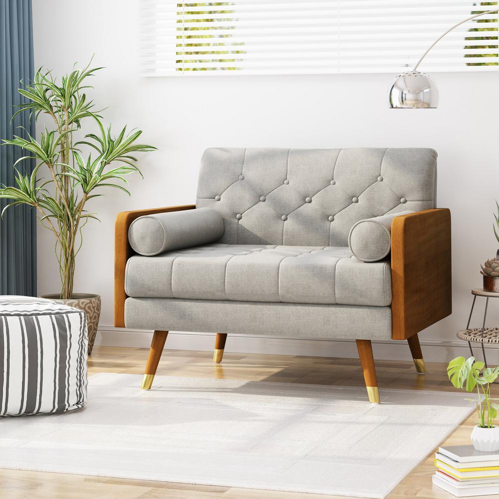 Noble House Frankie Mid-Century Modern Tufted Beige Fabric Club ...