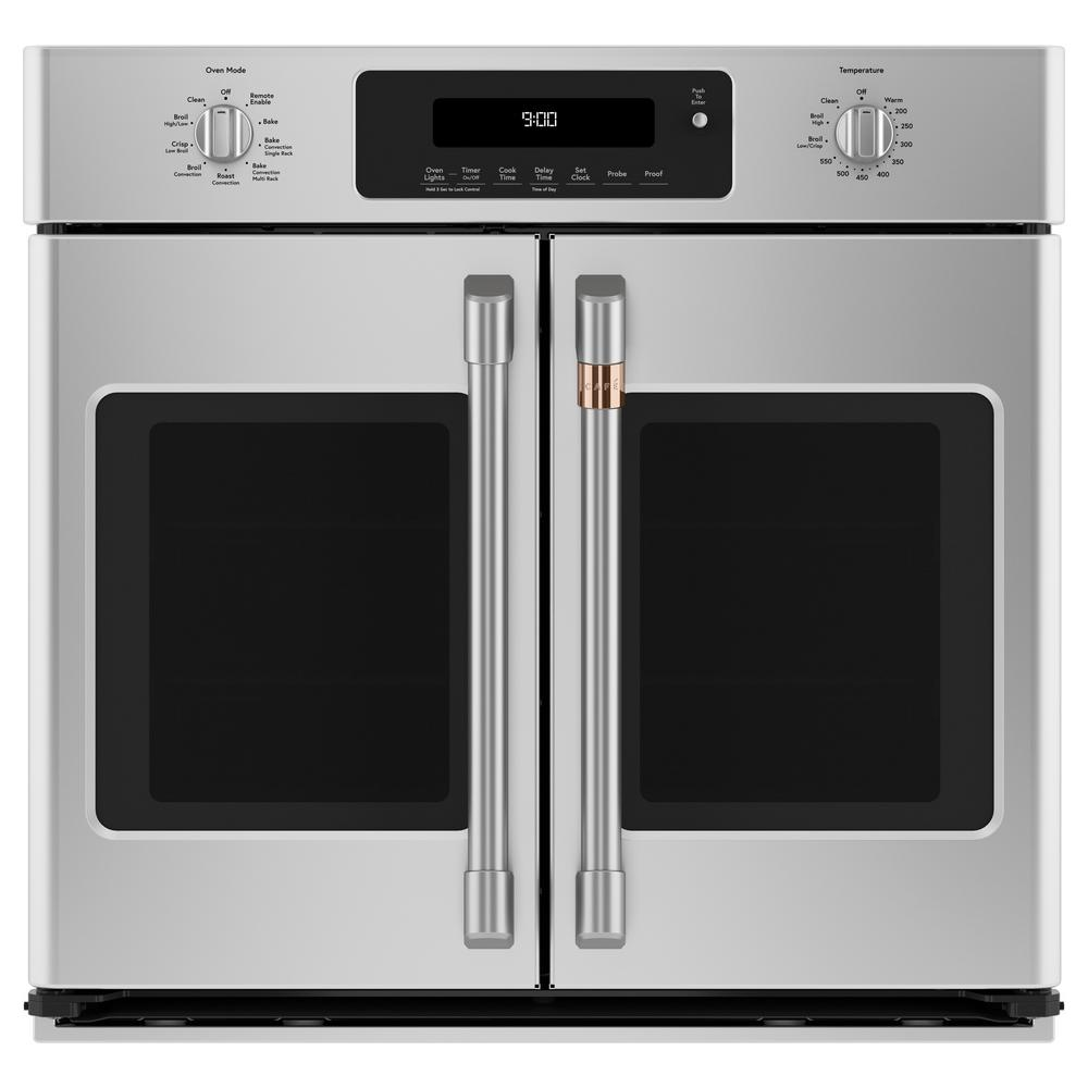 Cafe 30 in. Smart Single Electric French-Door Wall Oven with Convection Self-Cleaning in Stainless Steel