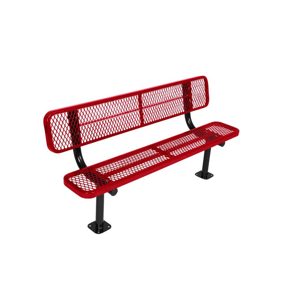 Surface Mount 8 ft. Red Diamond Commercial Park Bench with Back