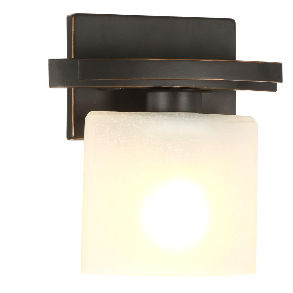 Hampton Bay Ettrick 1 Light Oil Rubbed Bronze Sconce With Hand Pained Gl Shade