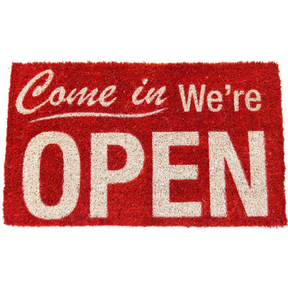 Entryways Were Open 18 in. x 30 in. Hand Woven Coir Door Mat-DISCONTINUED