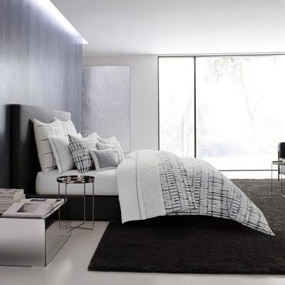Shibori Grid White 3-Piece Cotton King Duvet/Sham Set